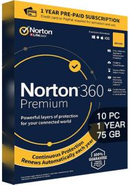 Norton 360 Premium - 10 PCs - 1 Year - 75GB Cloud Storage [EU]