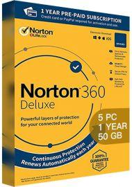 Norton 360 Deluxe - 5 PCs - 1 Year - 50GB Cloud Storage [EU]